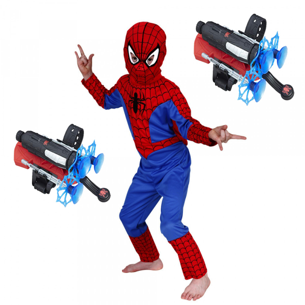 Set costum Spiderman L, 120-130 cm si doua lansatoare cu ventuze 0