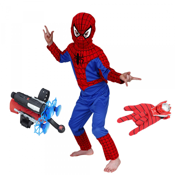 Set costum Spiderman M, 110-120 cm, lansator cu ventuze si manusa cu discuri 0
