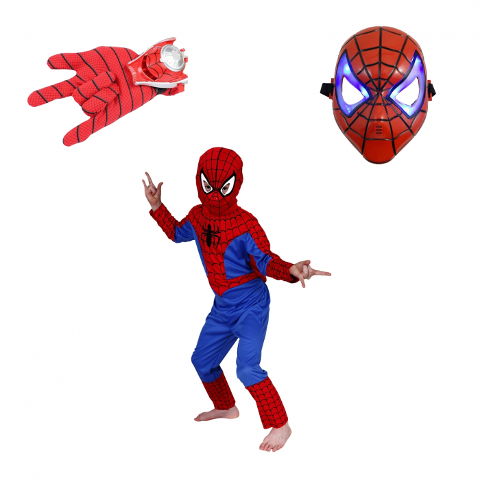 Set costum Spiderman, masca LED si manusa cu lansator [0]