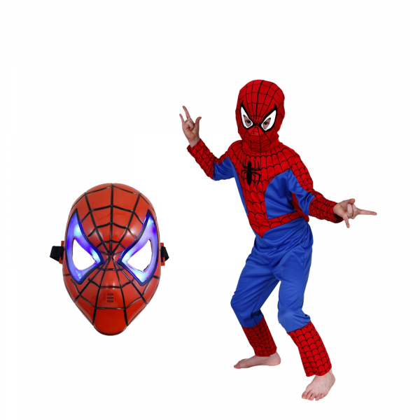 Set costum Spiderman marimea M si masca LED 0