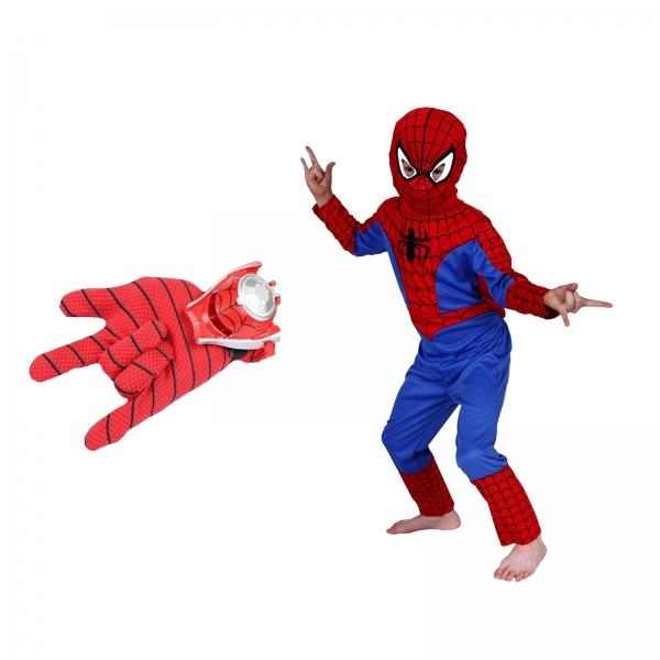 Set costum Spiderman marimea M si manusa cu lansator 0