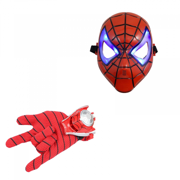 Set manusa cu lansator Spiderman si masca LED 0
