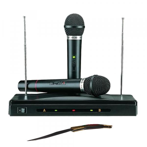 Set microfoane wireless si reciever C-05, cutit spaniol cadou 0