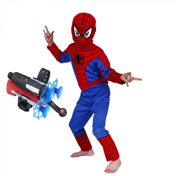 Set costum Spiderman clasic si doua lansatoare cu ventuze [1]