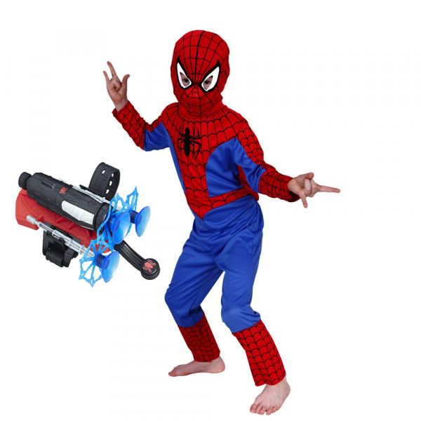 Set costum Spiderman M, 110-120 cm si lansator cu ventuze 0