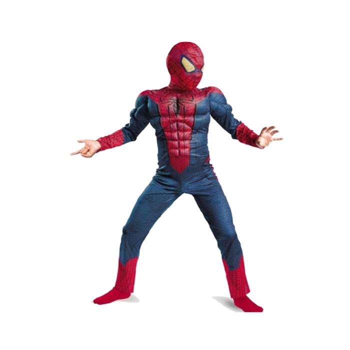 Set costum cu muschi Spiderman, 3-5 ani, manusa cu lansator si masca plastic LED, rosu [2]