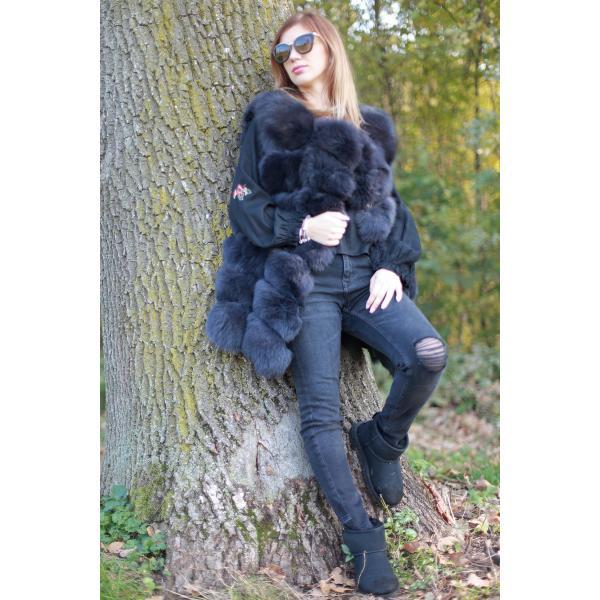 Vesta din blana naturala de vulpe, culoare gri, marime XL 3