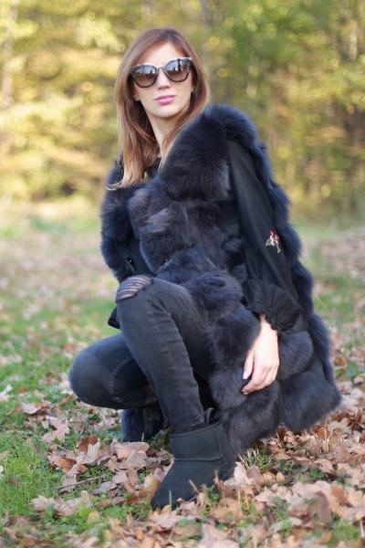 Vesta din blana naturala de vulpe, gri petrol, marime L 1