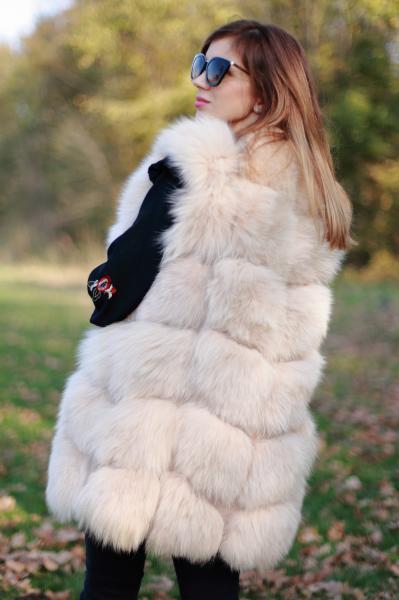 Vesta din blana naturala de vulpe, Bej, marimea M 2