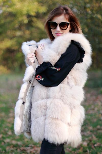 Vesta din blana naturala de vulpe, culoare Bej, marime XL 1