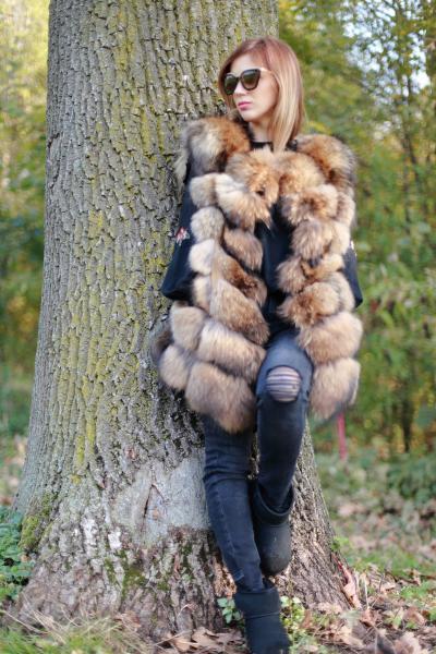 Vesta din blana naturala de vulpe, marimea XL 3