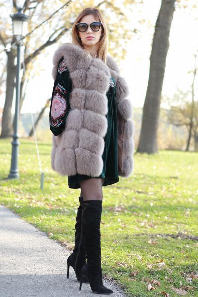 Vesta din blana naturala de vulpe, culoare gri, marime L 1