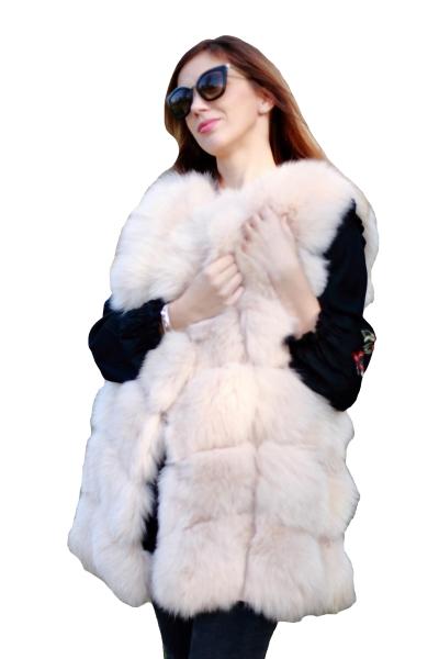 Vesta din blana naturala de vulpe, culoare Bej, marime S 0