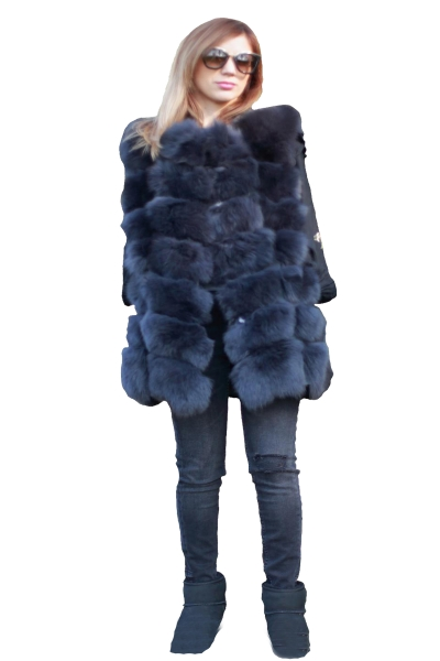 Vesta din blana naturala de vulpe, culoare gri, marime XL 0