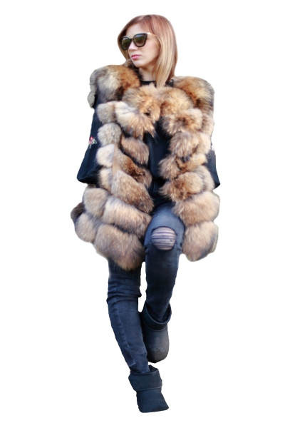 Vesta din blana naturala de vulpe, marimea XL 0