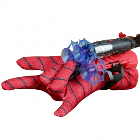 Set costum cu muschi Spiderman, 3-5 ani, manusa cu lansator si masca plastic LED, rosu [4]