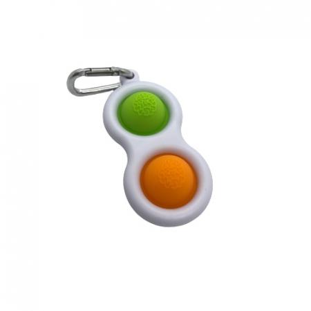 Jucarie antistres, Pop it, tip breloc, 8 cm, verde-portocaliu [2]