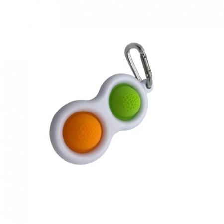 Jucarie antistres, Pop it, tip breloc, 8 cm, verde-portocaliu [3]