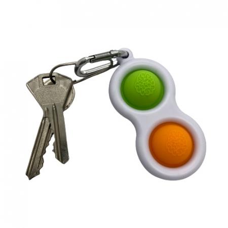 Jucarie antistres, Pop it, tip breloc, 8 cm, verde-portocaliu [5]