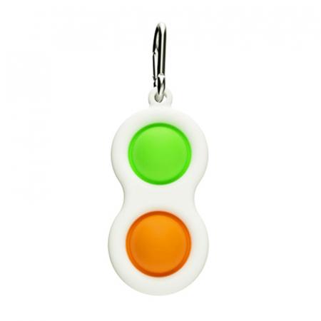 Jucarie antistres, Pop it, tip breloc, 8 cm, verde-portocaliu [1]