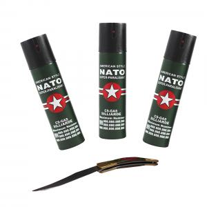 Set 3 sprayuri NATO, cadou briceag model spaniol 19 cm