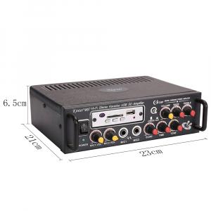 Amplificator digital, tip Statie, 2x25 W, telecomanda, USB-SD, 2 intrari microfon, briceag buzunar cadou2
