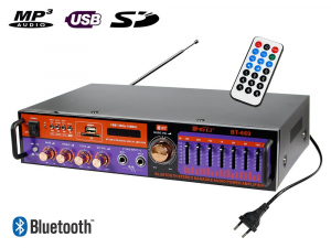 Amplificator digital, tip Statie, 2x20 W, Bluetooth, telecomanda, intrari USB, SD Card, microfon0