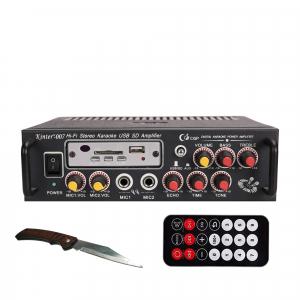 Amplificator digital, tip Statie, 2x25 W, telecomanda, USB-SD, 2 intrari microfon, briceag buzunar cadou0