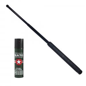 Baston telescopic Police 50 cm, negru, cadou spray NATO 60 ml [0]