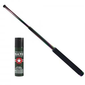 Baston telescopic 65 cm, rainbow, cadou spray NATO 60 ml