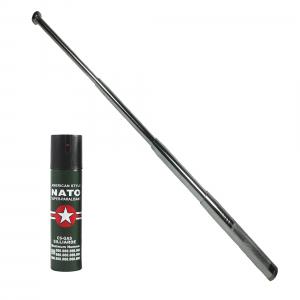Baston telescopic 65 cm, argintiu, 4 sectiuni, cadou spray NATO 60 ml