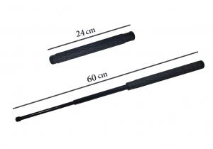 Baston telescopic din otel, negru, 60 cm, 3 sectiuni, husa cadou [7]
