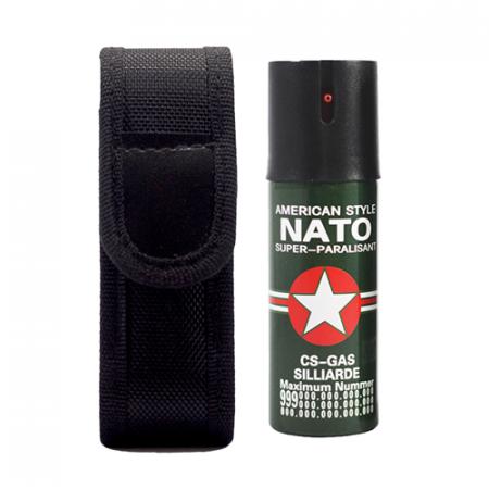 Baston telescopic Police 50 cm, negru, cadou spray NATO 60 ml [4]