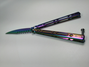 Cutit, Briceag fluture, Balisong, Butterfly 21.5 cm, Rainbow Classic5