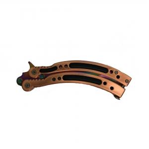 Cutit - Briceag fluture - Balisong - Butterfly cu design multicolor, 24 cm, bronz2