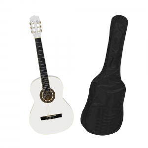 Chitara clasica din lemn 95 cm, alb clasic, husa nylon inclusa - Copie1