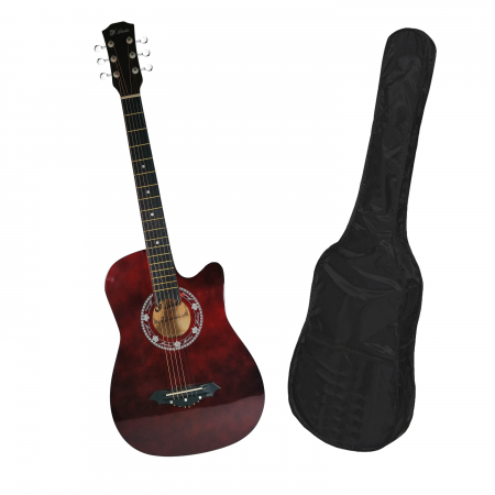 Chitara clasica din lemn 95 cm, visinie Cutaway, husa nylon inclusa0