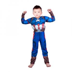 Costum Captain America Avengers Endgame cu muschi, marimea L, 7-9 ani, masca LED cadou1
