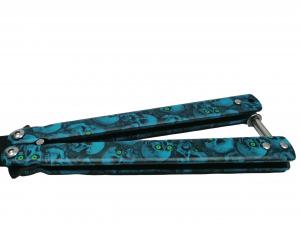 Cutit, Briceag fluture, Butterfly, Happy Blue Skulls, pentru antrenament, 22 cm3