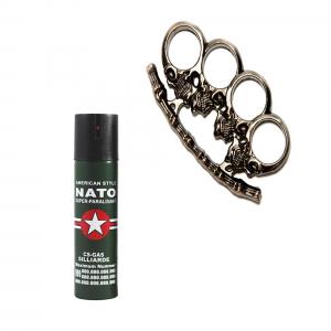 Spray NATO 60 ml, cadou rozeta, craniu, 1 cm, gri metalizat