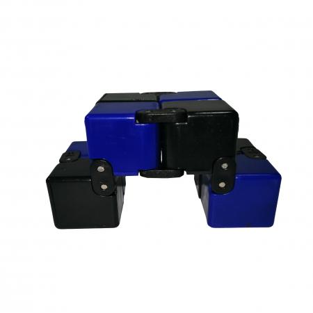 Jucarie antistres, cubul infinitului, 4 cm, plastic, negru-albastru [3]