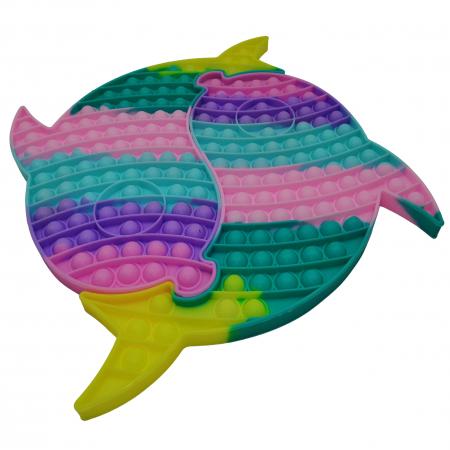 Jucaria antistres, Pop it Grand, model delfini siamezi, 41 cm, multicolor [1]
