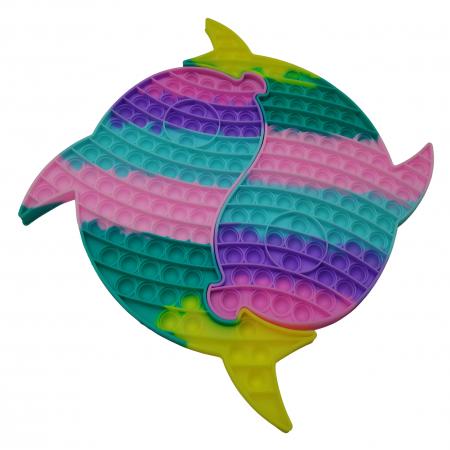 Jucaria antistres, Pop it Grand, model delfini siamezi, 41 cm, multicolor [2]