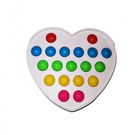 Jucarie antistres, Pop it, plastic, inima, 12 cm, alb [0]