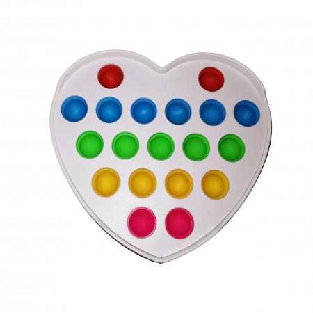 Jucarie antistres, Pop it, plastic, inima, 12 cm, alb [1]
