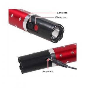 Mini electrosoc in forma de ruj cu lanterna, rosu2