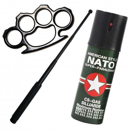 Kit autoaparare baston telescopic din otel, 64 cm, 4 sectiuni, box si spray paralizant Nato [0]