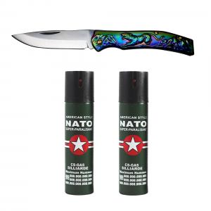 Set cutit traditional japonez si 2 sprayuri paralizante, NATO, 60 ml [0]