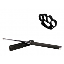 Set baston telescopic 65 cm argintiu + box negru 0.5 cm grosime0