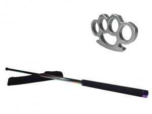 Set baston telescopic 66 cm + box argintiu 0.5 cm grosime0